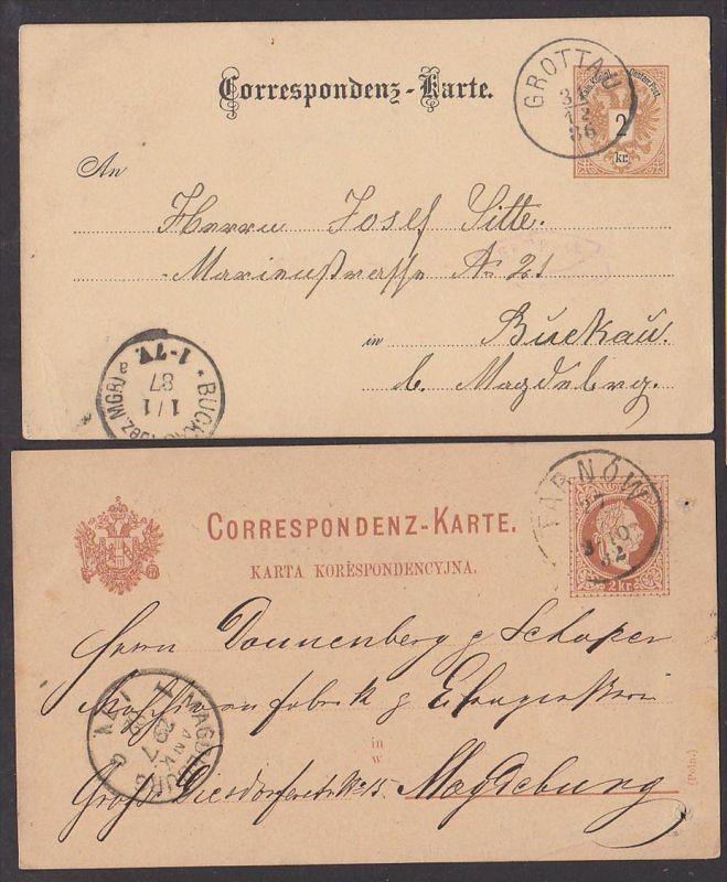 GROTTAU TARNOW, Correspondenz-Karte je 2 Kreutzer nach Buckau bzw. Magdeburg aus 1882, 1886