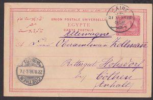 Egypte Ägypten carte postale 1898 Pyramide, Cairo an Rittergut Hosdorf Cöthen