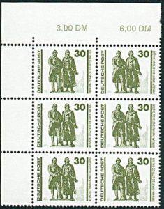DDR 3345 (6) mit Plattenfehler I ** Friedrich Schiller J. W. von Goethe Denkmal in Weimar, postfrisch