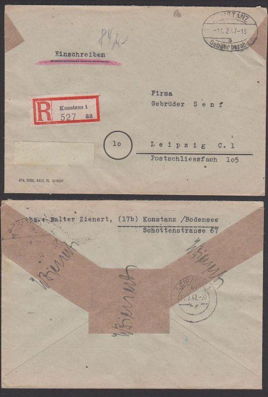 Konstanz E-Fernbrief Gebühr bezahlt Barfrankatur 11.2.47 Einschreiben