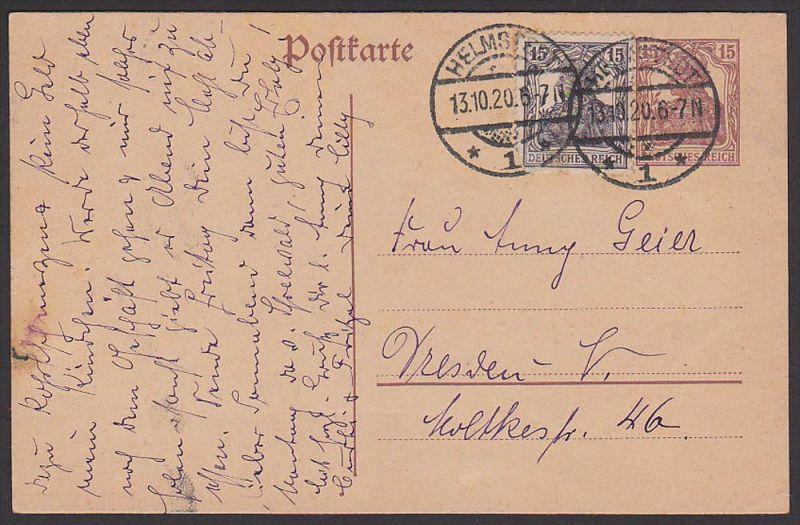 Helmstedt Deutsches Reich GA-Karte mit Zusatzfrankatur 1920