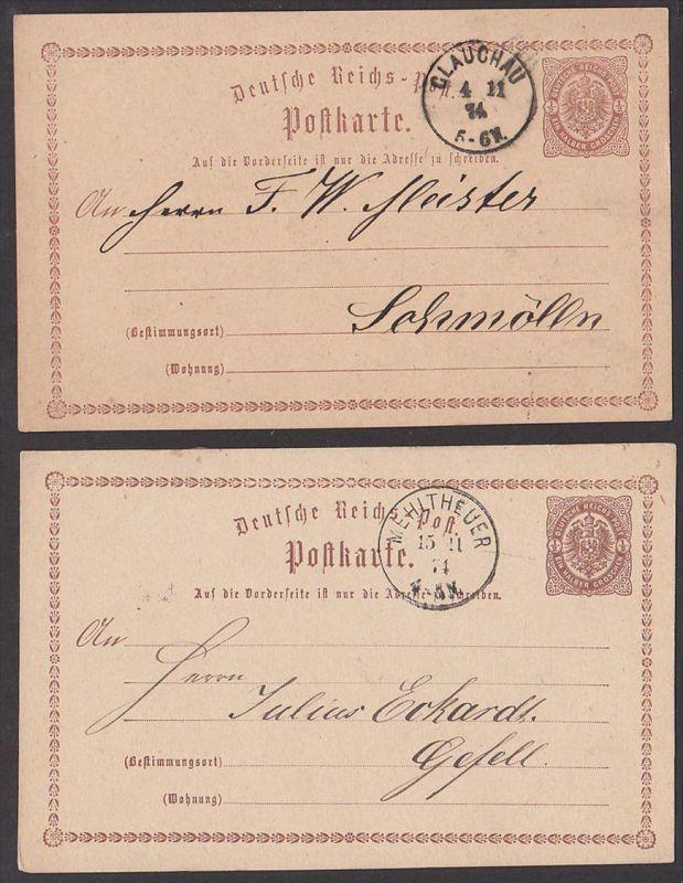 Mehlteuer Glauchau Deutsches Reich 2 Ganzsachen P1, Germany von 1874