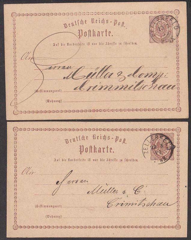 Zellerfeld  Deutsches Reich 2 Ganzsachen P1, Germany von 1873 nach Crimmitschau