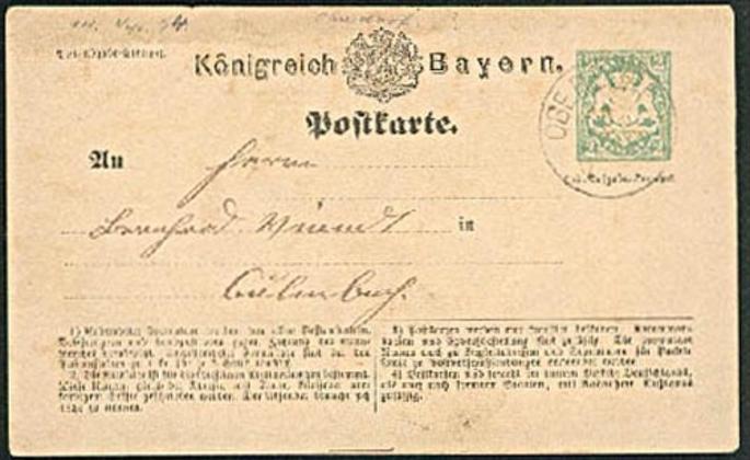 OBERDORF Ganzache 2 Kreuzer 1874 Königreich Bayern nach Culmbach