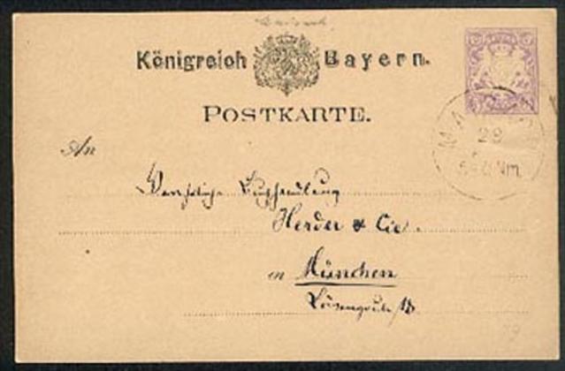 MARBACH Bayern Ganzache 5 Pf. 1879 Königreich Bayern nach München