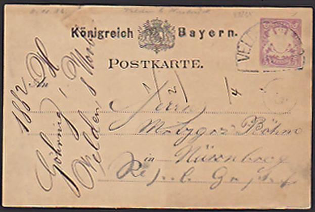 VELTEN b. HRSB 5 Pf Karte von 1882 nach Nürnberg, Königreich Bayern nach Würzburg