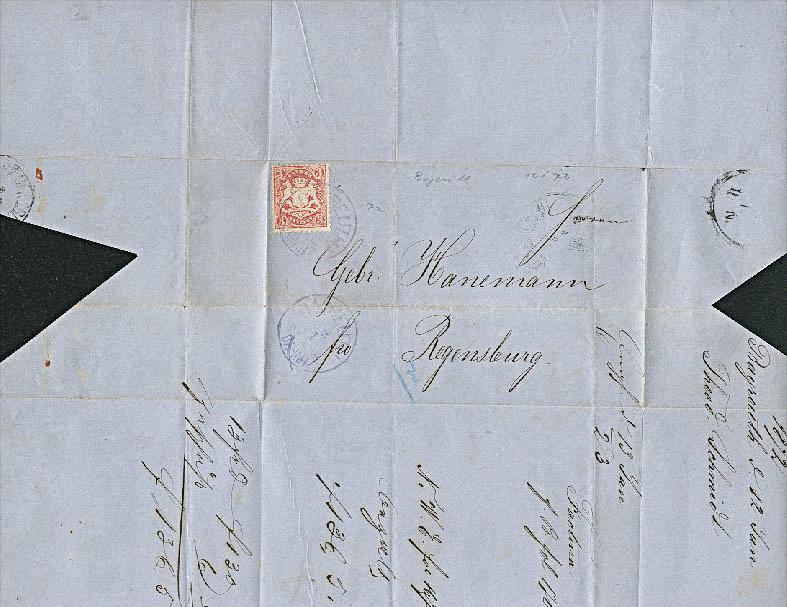 Bayreuth nach Regensburg  3 Kreuzer auf Brief mit Inhalt, Königreich Bayern, 1872