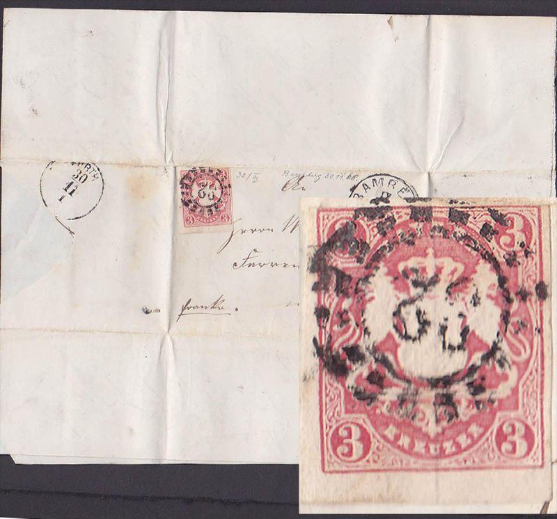 BAMBERG nach Fürth  3 Kreuzer geschnitten (Mi. 32) auf Brief mit Inhalt, Königreich Bayern, 1868