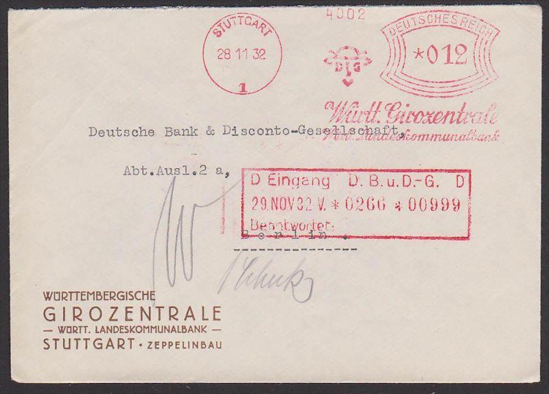 STUTTGART Württemberg Girozentrale Landeskommunalbank 1932, DR AFS