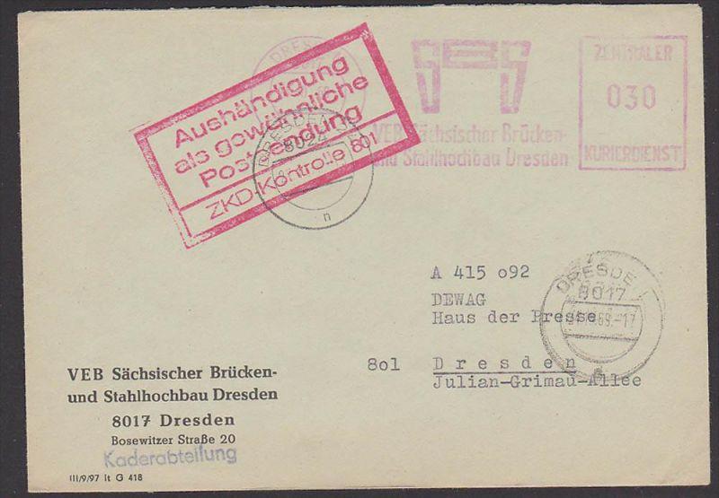 ZKD-Kontrolle 801 Aushändigung .., Dresden AFS Brücken- u. Stahlhochbau, DDR