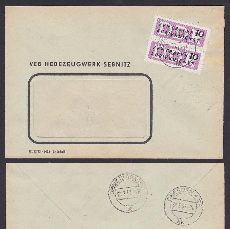 ZKD-Brief Nr. B6(2) Sebnitz VEB Hebezeugwerk 1957, Zentraler Kurierdienst der DDR