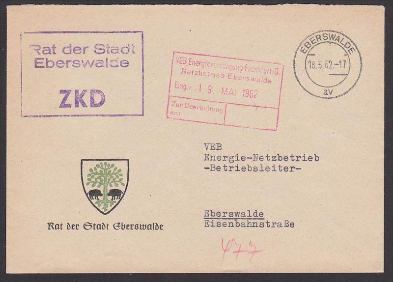 Eberswalde Rat der Stadt, 1962, Germany East , GDR, Wappen der Stadt mit Wildschwein
