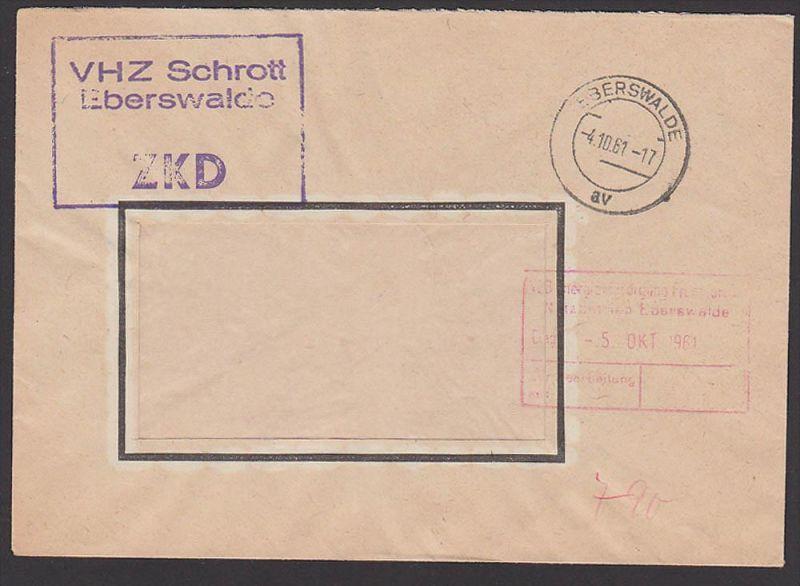 Eberswalde VHZ Schrott ZKD-Kastenstempel 1961, Zentraler Kurierdienst der DDR