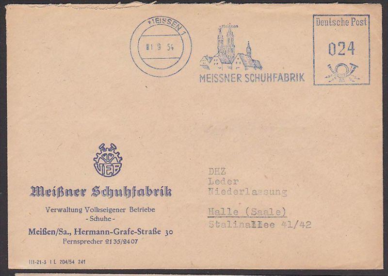 Meißen Sachsen Meissner Schuhfabrik AFS 1954 aptiert mit Dom Albrechtsburg, Prachtabschlag, Dienstpost