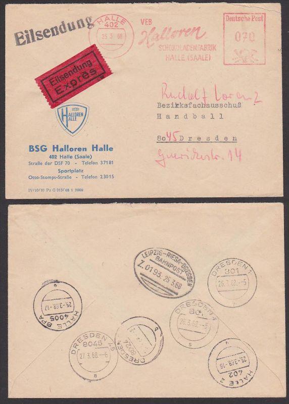Halle Halloren Schokoladenfabrik AFS Eilsendung Firmenbrief vom BSG Halloren DTSB 1968