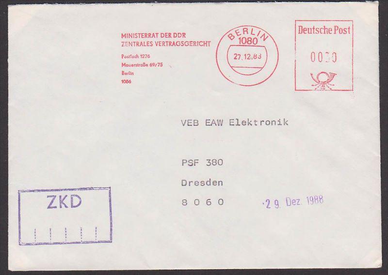 Berlin Ministerrat der DDR Zentrales Vertragsgericht 1988 nach Dresden, ZKD-Brief