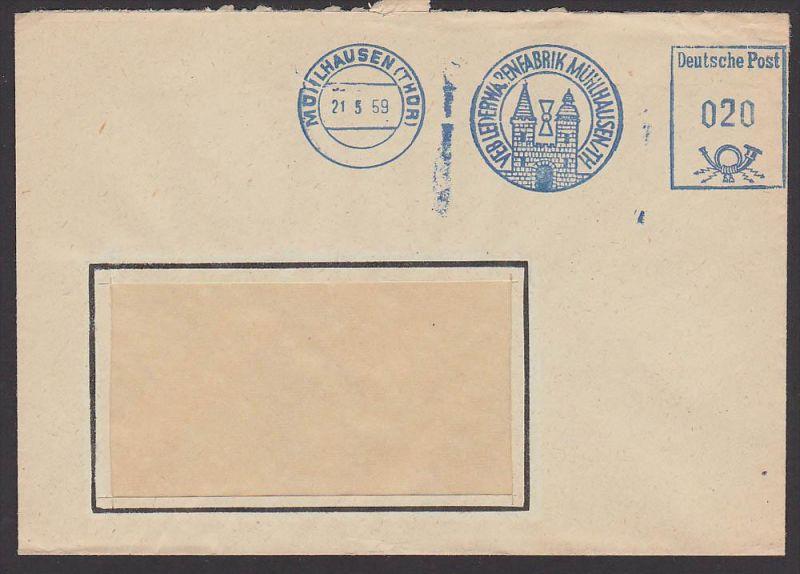 MÜHLHAUSEN Thüringen AFS Lederwarenfabrik 1959 Dienstpostbrief, Abb. Stadtmauerturm