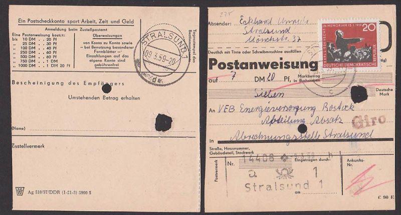 Karl Liebknecht 20 Pf in  seltener Verwendung, EF Stralsund  Postanweisung nach Energieversorgung Stralsund