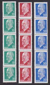 Germany DDR 10, 20 und 50 Pf. Walter Ulbricht Rollenmarken im 5er Streifen mit Nr. **