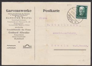 Hindenburg  8 Pf Deutsche Nothilfe, DR 403 Hannover-Würfel Garvenswerke Karte mittig gebrochen