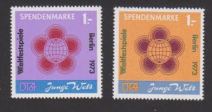 DDR Spendenmarke 1 gelb und violett postfrisc hJunge Welt Weltfestspiele Brlin 1973 Germany East