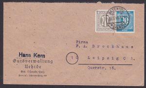 Osterode (Harz) Bf, 4 Pf AMP vom 28.9.46 in MiF mit 20 Pf Ziffern, Abs. Gutsverwaltung Uehrde