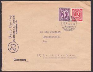 Stollhamm Oldenburg Fern-Bf, 12 Pf AMP vom 15.7.46 in MiF mit 12 Pf Ziffern