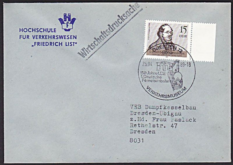 Friedrich List Verkehrswissenschaftler, Hochschule für Verkehrswesen DDR 1. Deutsche Eisenbahn Verkehrsmuseum Dresden