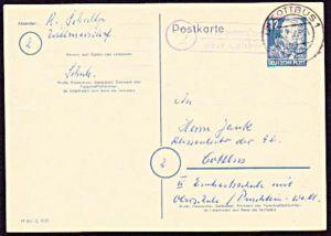 Willmersdorf über Cottbus  1, Poststellenst. auf 12 Pf GA Friedrich Engels