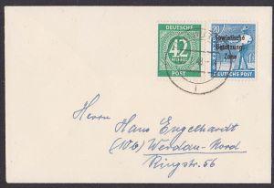 WURZEN 1948 42 Pf Ziffern Mi. 930 in MiF mit 20 Pfg. SBZ-Aufdruck vom 5.7.48 - Zehnfachfrakatur Drucksache, rs. mit Abs.