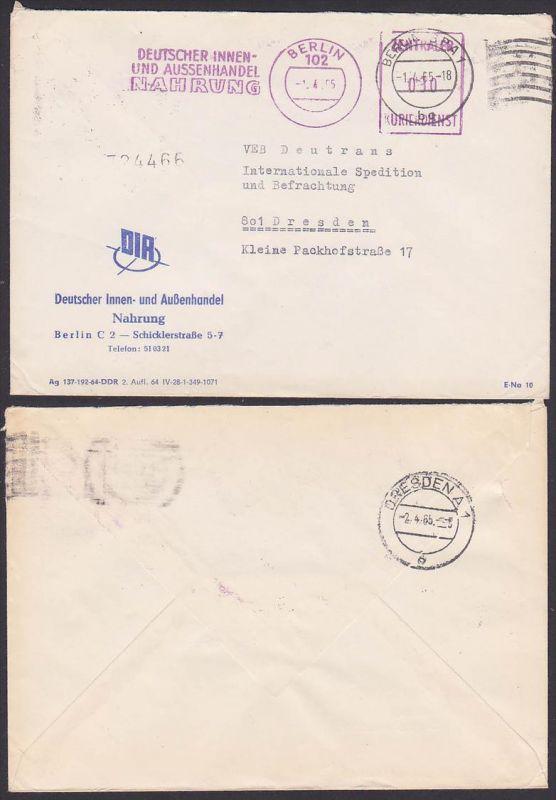 DDR ZKD BERLIN, Absenderfreistempel Deutscher Innen- und Aussenhandel Nahrung  1965, Zentraler Kurierdienst nach Dresden