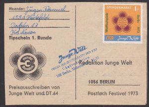 Junge Welt Spendenmarke 1,- Berlin 1973, Tipschein 1. Runde mit Eing.-St. FDJ, organisiert von DT64, Jugendsender in DDR