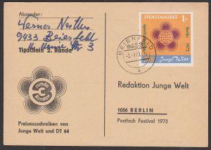 Junge Welt Spendenmarke 1,- Berlin 1973, 2. Runde, organisiert von DT64, Jugendsender in DDR, Radio, offiz. Karte mit Dv