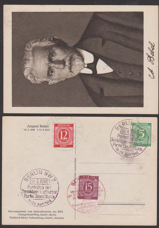 August Bebel (1840 - 1913) Ak mit SoSt. BERLIN NW7 Parteitag der SPD Sozialdemokratischen Partei Deutschlands, KPD
