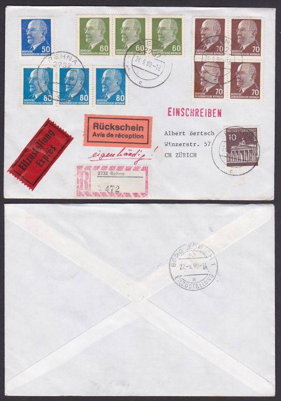 Rehna DDR R-Eil-Brief mit Rüsckschein nach der Zürich Schweiz mit 80 Pf(3) Walter Ulbricht u.a. MiF Brandenburger Tor