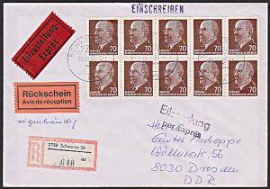 DDR 938(10) 70 Pf. Walter Ulbricht Ex-R-Rs-Bf und eigenhändig, portorichtig Gemany East