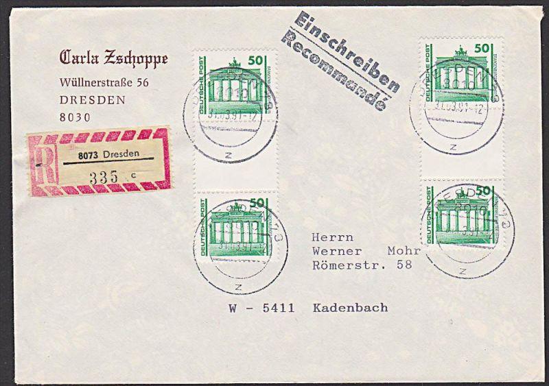 Germany east  DDR VGO R-Brief mit senkr. Zdr. Berlin Brandenburger Tor SZ 25 (2), portogenau