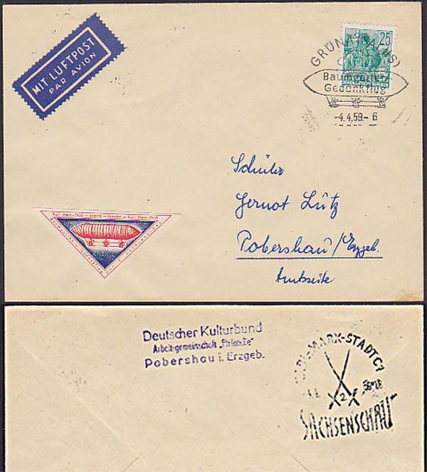 Grüna Sachsen Baumgarten Gedenkflug Vignette Chemnitz Germany East Zeppelin Zigarre