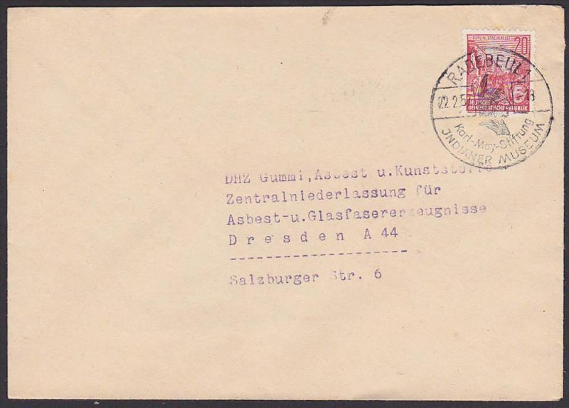 Karl May Radebeul Indianer Museum  20 Pf. 5-Jahr-Plan Berlin Stalinallee, 1957, Germany East