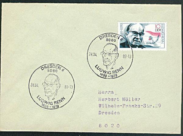 Ludwig Renn Brigata International 11. Brigate Internacional Ortsbrief Dresden 1989 Germany East