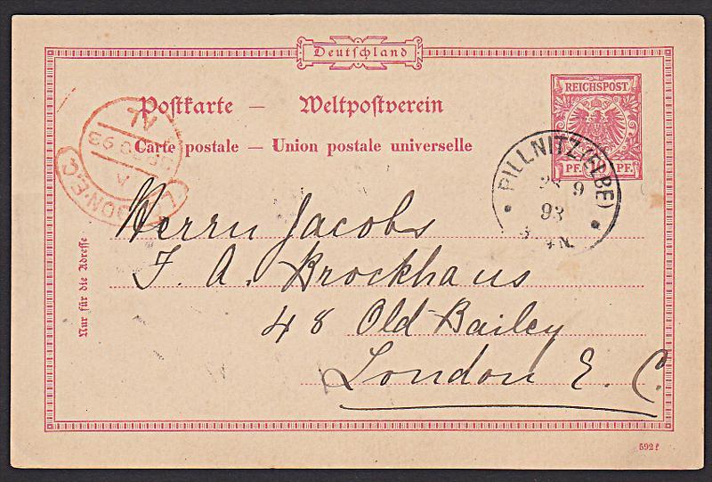 Germany Deutsches Reich  GA Pillnitz (Elbe) Auslandskarte 1893 nach London