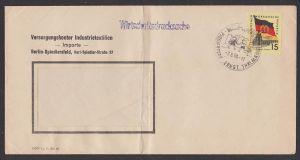 Berlin Pionierpark Ernst Thälmann SSt. auf 15 Pf Dresden Zwinger Wirtschaftsdrucksache 1960, Bf gefaltet