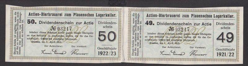 beer Bierbrauerei zum Plauenschen Lagerkeller Dresden 1913 2 Dividenden-Scheine Sachsen