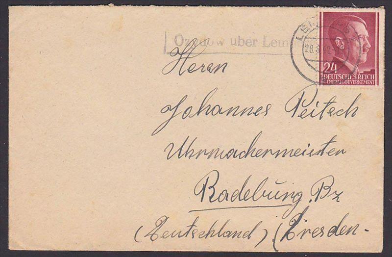 Lemberg Lwow Lwiw Generalgouvernement Ukraine PSSt. Ozydow Fernbrief 1942 aus Galizien nach Sachsen