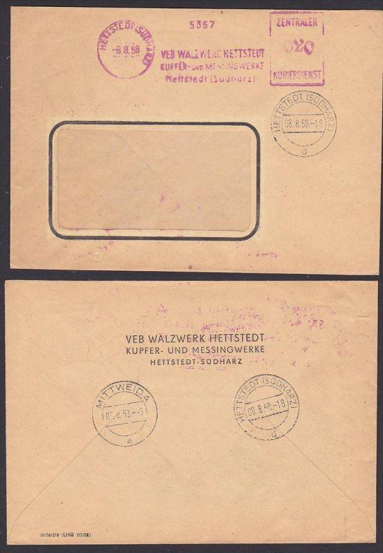 Hettstedt (Südharz)  ZKD-Brief AFS =020=, VEB Walzwerk mit Numerator 5357,  8.8.1958