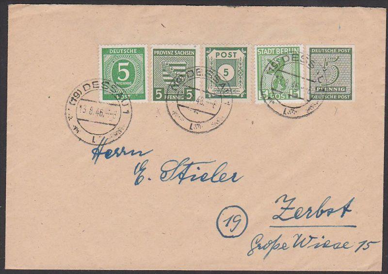 SBZ Fernbrief Dessau portorichtige MiF  Berliner Bär, EA Sachsen Westsachsen, dabei 5 Pf  Mi-Nr. 116Y  MiF 90,-