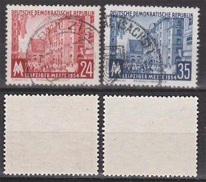 Leipziger Messe 1954, Messehaus Handelshof Grimmaische Str. DDR 433/34 bedarfsgestempelt