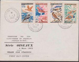 FDC Saint-Pierre et Miquelon Serie Oiseaux 1963