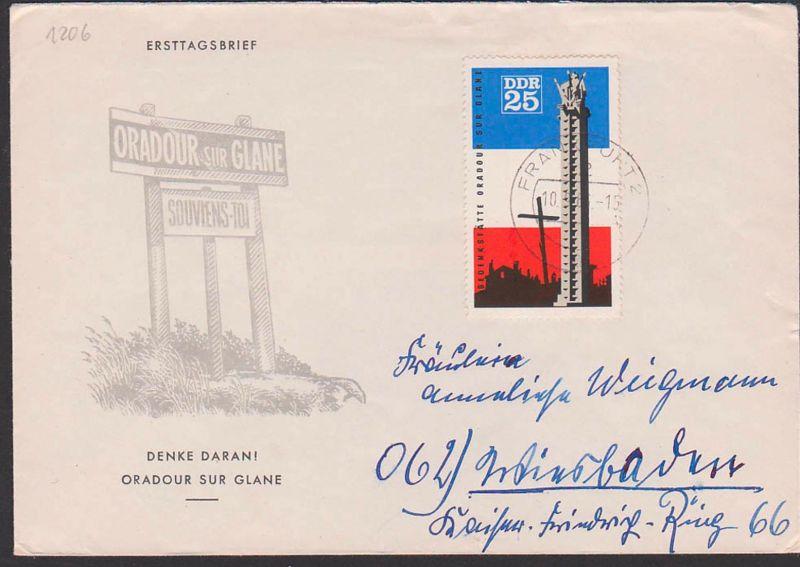 Auslandsbrief 35 Pf Gedenkstätte Oradour sur Glane DDR 1206 nach Wiesbaden aus Frankfurt auf pass. Schmuckbrief