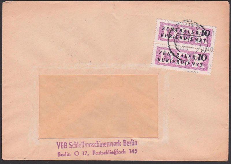 DDR ZKD 11(1601) BERLIN O17, Schleifmaschinenwerk 1957, Kreisaufdruck, senkr. Paar